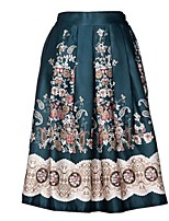 Women's Floral Blue / Black / Green Skirts,Vintage / Casual / Day Knee-length