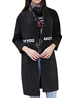 Women's Solid Black Coat,Simple Long Sleeve Polyester