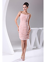 Cocktail Party Dress-Pearl Pink Sheath/Column Off-the-shoulder Short/Mini Chiffon