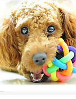 New Rainbow Color Rubber Ball Bell Pet Toy - Small Dogs