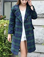 Women's Casual/Daily Plus Size Pea Coats,Plaid Shirt Collar Long Sleeve Winter Red / Green Wool
