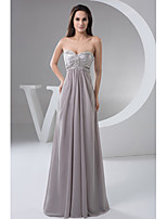 Formal Evening Dress A-line Sweetheart Floor-length Chiffon with Beading / Side Draping