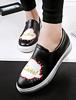 Women's Shoes Leatherette Flat Heel Comfort Loafers Outdoor / Casual Black / Red