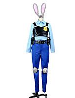 Cosplay Costumes-Zootopia-Judy-Top / Blusa / Calças Hakama / Peça para Cabeça / Manopla / Cinto / Protecção de Joelhos / Cauda / Crachá