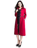 Women's Solid Red / Black Trench Coat,Simple Long Sleeve Wool