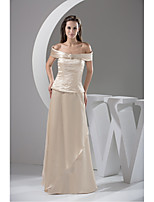 Formal Evening Dress-Champagne A-line Bateau Floor-length Charmeuse