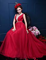 de noite formal vestido-laranja / Borgonha / tribunal trevo de trem crepe v-neck