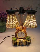 madera creativa el violín con el reloj de regalo doble lámpara del dormitorio de la lámpara de la decoración del escritorio del envase