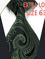 Men's Tie Green Paisley 100% Silk Business  Dress Casual Long
