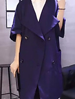 Women's Solid Blue / Red / Orange Trench Coat,Simple ½ Length Sleeve Cotton