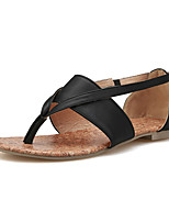 Women's Shoes Leatherette Flat Heel Comfort Sandals Outdoor / Dress / Casual Black / Pink / Beige