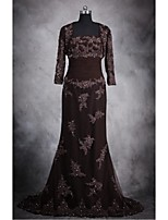 Trumpet/Mermaid Mother of the Bride Dress-Brown Floor-length Lace / Tulle / Stretch Satin
