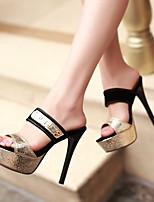Chaussures Femme-Habillé / Décontracté / Soirée & Evénement-Noir / Or-Talon Aiguille-Talons / Bout Ouvert / A Plateau / Chaussons-