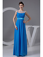 Formal Evening Dress-Royal Blue A-line Jewel Floor-length Chiffon