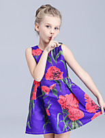 Girl's Purple / White Dress,Print Cotton Summer