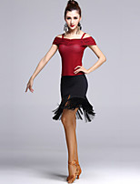 Latin Dance Outfits Women's Performance Tulle Tassel(s) 2 Pieces Black / Red Latin Dance
