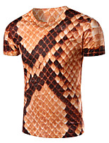 Men's Fashion Personality Python Skin Print Short Sleeve T-Shirts;Cotton/Polyester/Print