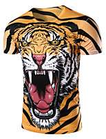 Men's Fashion Domineering Tiger 3D Print Short Sleeve T-Shirts;Cotton/Polyester/Print