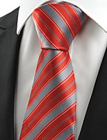 KissTies Men's New Striped Red Microfiber Tie Necktie For Wedding Party Holiday With Gift Box