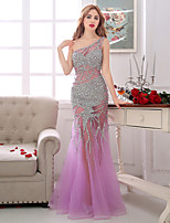 Formal Evening Dress-Lilac Sheath/Column One Shoulder Floor-length Tulle