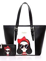 Women PU Baguette Shoulder Bag / Tote / Satchel-Black / Fuchsia