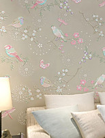 PALUTON Floral Wallpaper Contemporary Wall Covering,Non-woven Paper Warm Pastoral Flowers Wallpaper