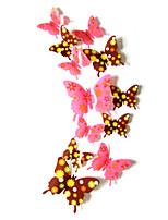 3D Wall Stickers Wall Decals Style Flower Butterfly Waterproof Removable PVC Wall Stickers(12CM-2PCS、9CM-2PCS、7CM-8PCS)