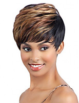 Short Length Straight Hair European Weave Mixed Color Hair Synthetic Wig