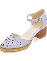 Women's Shoes Leatherette Chunky Heel Heels Heels Party & Evening / Dress / Casual Pink / Purple / White