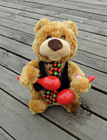 Plush Bear Textile Red / Black / Khaki  Music Toy For Kids