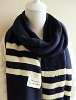 Gakuen Black Stripe Wool Knit Warm Plaid Stitching Scarves