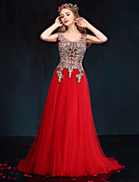 Formal Evening Dress-Ruby Sheath/Column Queen Anne Floor-length Lace / Tulle