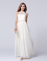 Formal Evening Dress-Champagne Sheath/Column Jewel Ankle-length Lace / Satin Chiffon