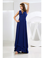 Floor-length Chiffon Bridesmaid Dress-Royal Blue A-line V-neck