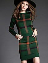 Women's Plaid Blue / Red / Green Set,Street chic Long Sleeve