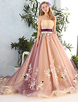 Princess Wedding Dress-Pearl Pink Cathedral Train Strapless Lace / Tulle