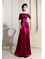Formal Evening Dress-Burgundy Sheath/Column Bateau Floor-length Lace / Charmeuse