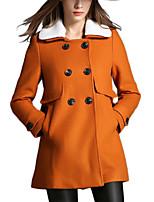 Women's Solid Orange Coat,Simple Long Sleeve Wool / Polyester