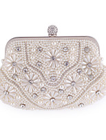 L.WEST Woman Fashion Imitation Pearl Flower Evening Bag