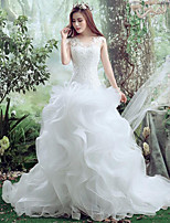 Trumpet/Mermaid Wedding Dress-White Court Train Sweetheart Lace / Tulle