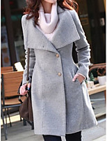 Women's Solid Black / Gray / Orange Pea Coats,Simple / Street chic Long Sleeve Wool