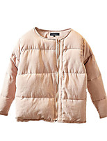 Women's Solid Pink / Black Padded Coat,Simple Round Neck Long Sleeve