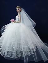 Poupée Barbie-Blanc-Mariage-Robes- enSatin / Dentelle