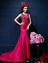 Formal Evening Dress-Fuchsia Trumpet/Mermaid Scoop Court Train Satin / Tulle
