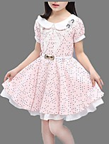 Girl's Blue / Pink Dress,Lace Cotton Summer