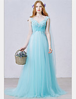 Formal Evening Dress-Sky Blue A-line V-neck Sweep/Brush Train Tulle