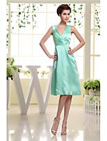Knee-length Satin Bridesmaid Dress-Jade A-line V-neck