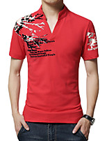 Men's Fashion Slim Printing Short Sleeved Polo,Cotton / Polyester Casual / Plus Sizes Print