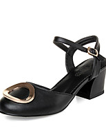 Women's Shoes Patent Leather Chunky Heel Heels / Round Toe Heels Office & Career / Dress / Casual Black