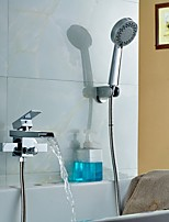 Bathtub Shower Faucet Contemporary / Thermostatic / Handshower Included Brass Chrome